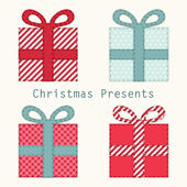 Primitive retro Christmas present boxes — Stock Vector