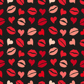 Pattern with lips and hearts — Stock Vector