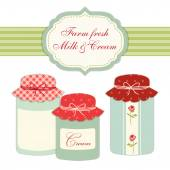 Vintage jars in shabby chic style — Stock Vector