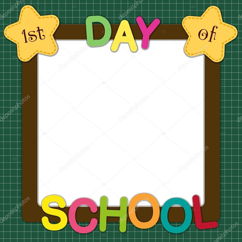 可爱的学校框架与多彩多姿的信件和明星学校董事会背景上的 firstst