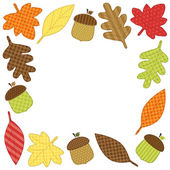 Frame with autumn leaves acorns — Stock Vector