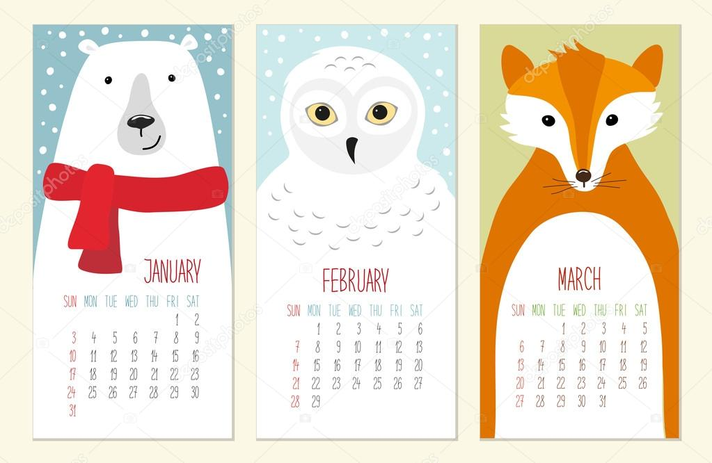 Cute Calendar Illustration : Cute calendar pages with funny animals — stock vector