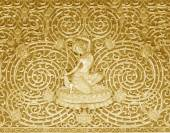 Angel wood carving Buddhist temple wall — Stock Photo