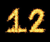 Fire flames twelve numbers — Stock Photo