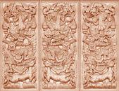 Wood carving Buddhist — Stock Photo