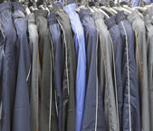 Pants hanging for putting sale — Stock Photo