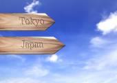 Wooden arrow sign pointing destination, Tokyo, Japan — Stock Photo
