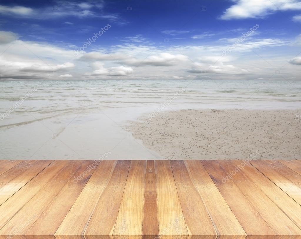 나무 바닥을 하늘색 바다 — 스톡 사진 © scenery1 #82750194