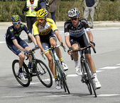 Martijn Keizer(L) and Maxime Bouet(R) ride during the Tour of Catalonia — Stock Photo