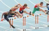 Competitors of 110 meters hurdles — Stock Photo
