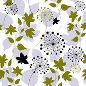 бесшовный фон с одуванчики и листья лесной — Cтоковый вектор