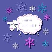 Festive Christmas card with a cute sheep — Stock Vector