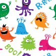 Seamless background with colorful cute monsters — Stock Vector #56607795