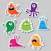 Seth bright charming cute monsters — Stock Vector
