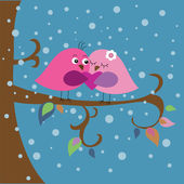 Christmas card with birds and snowflakes — Stock Vector