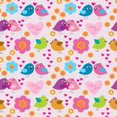 Decorative seamless pattern with birds in love — Stock Vector