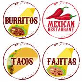4 stamps of mexican food — Stock Vector
