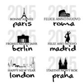Happy New Year in Paris, Berlin, Rome, Madrid, London, Prague — Stock Vector
