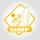 Icon surf — Vector de stock
