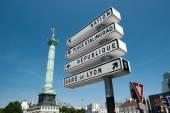 Roadsigns in Paris on Place de la Bastille — Foto de Stock