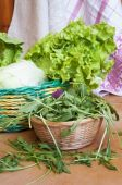 Different varieties of salad on wooden table — Stock Photo