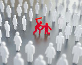 Diffusion of responsibility, bystander effect illustration — Stock Photo