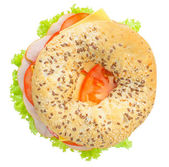 Big bagel sandwich solated (with path) — Stock Photo