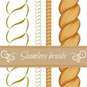 Hair braided isolated on white. Seamless twist braids with outli — Stock Vector