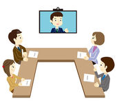 Business team that has a TV conference — Stock Vector