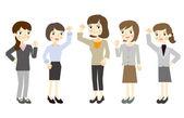 Only women business team — Stock Vector