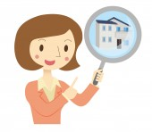 Business Woman to assess the real estate — Stock Vector