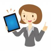Woman described in tablet terminal — Stock Vector