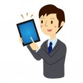 Businessman described in tablet terminal — Stock Vector