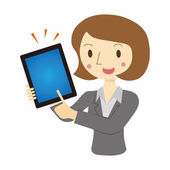 Woman described in tablet terminal — Stock Vector