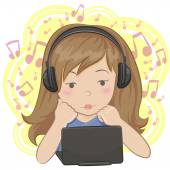 Girl listening to the music — Stock Vector
