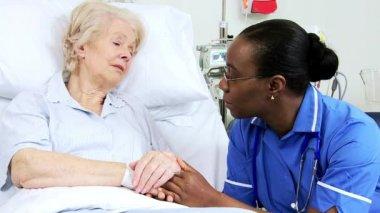 Elderly Female Caucasian Hospital Bed Nursing Care — Stok video