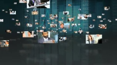 Montage fly through Multi ethnic business managers using touch screen — Stock Video