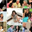 Montage of full time Multi ethnic woman at home and working — Stock Video #51851081