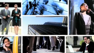 Montage fly through business managers working with technology — Vídeo Stock