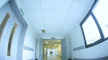 Modern Hospital Corridors No People Wide Angle — Stock Video