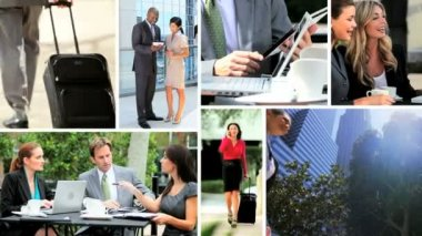 Montage Multi Ethnic Business Managers Modern Technology — Stock Video
