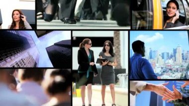 Montage of Caucasian city business communication activity — Stock Video