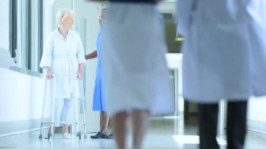 Hospital Patient Walking Therapy Care Medical Staff — Wideo stockowe