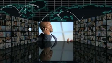 3D video wall montage business managers closing contract on mobile — Stock Video