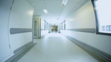 Wide Angle Bright Hallways Empty Modern Hospital — Stock Video