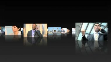 Multiple montage of Multi ethnic finance managers working in office — Stock Video