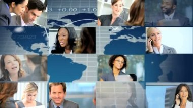 CG montage of city Multi ethnic business people activity — Stock Video