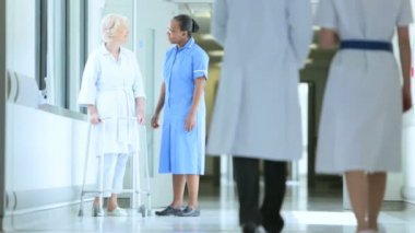 Patient Hospital Physical Therapy Care Multi Ethnic Staff — Stock Video