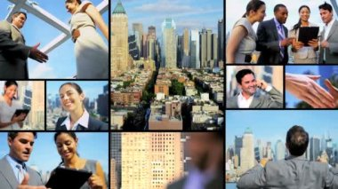 City montage of successful Multi ethnic business meetings — Stockvideo