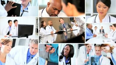 Montage of Multi ethnic medical doctors consultation patient care — 图库视频影像